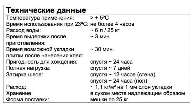 Плиточный клей - характеристики
